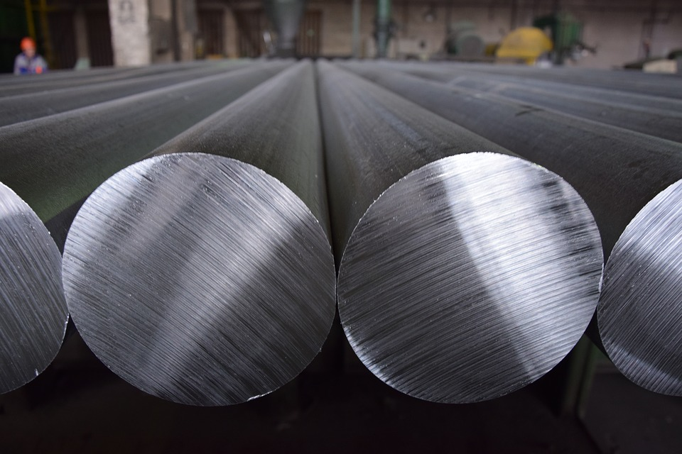 Poles of aluminium metal in a factory