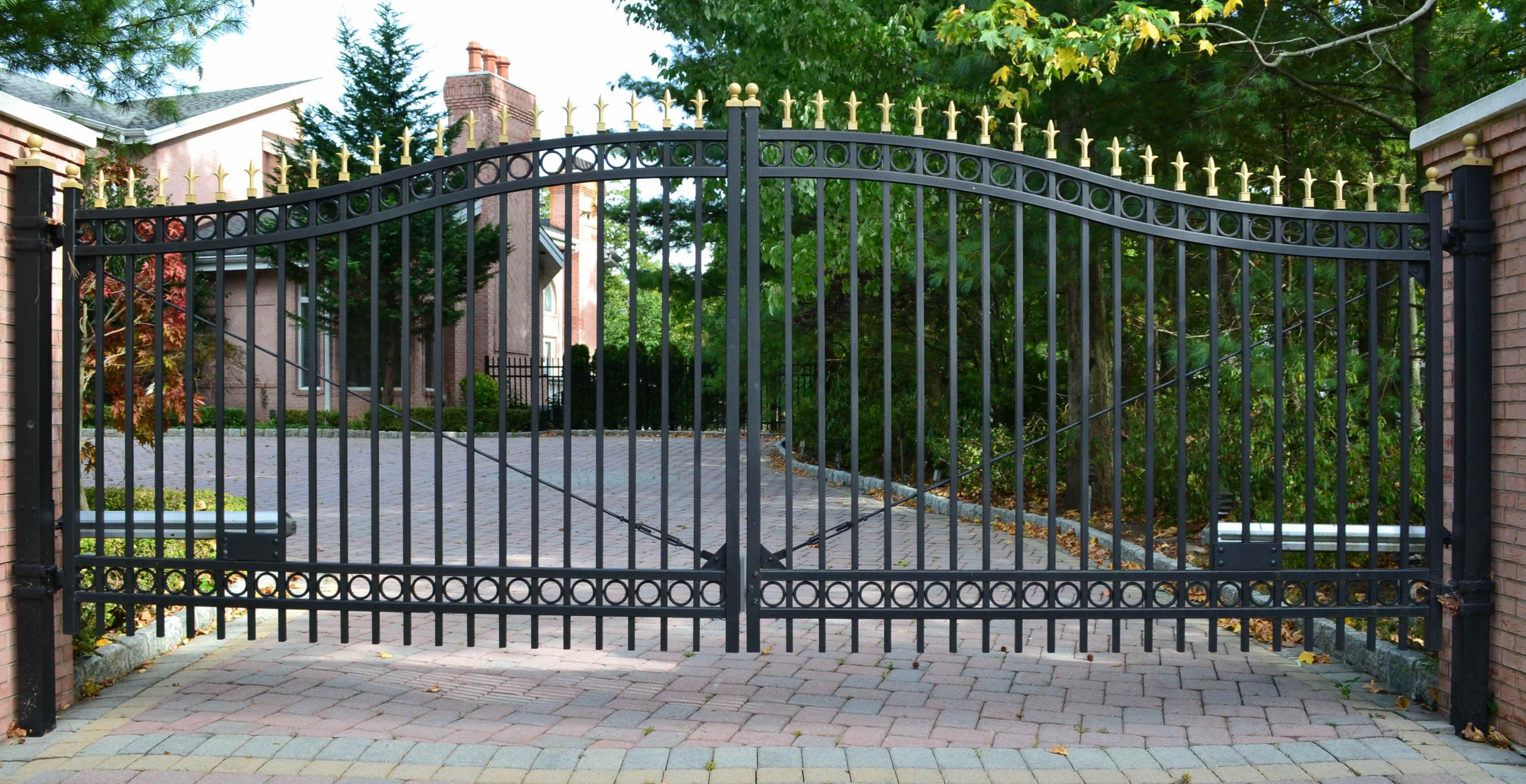 Ornate iron driveway gates