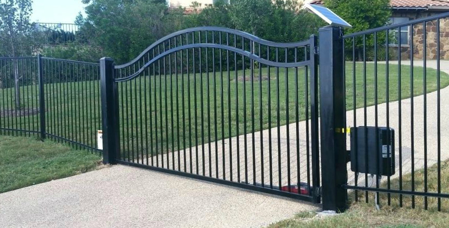 Sliding gate option across rising driveways