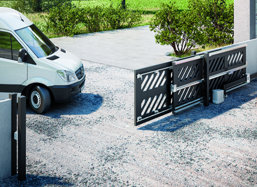 telescopic sliding gate with van driving through