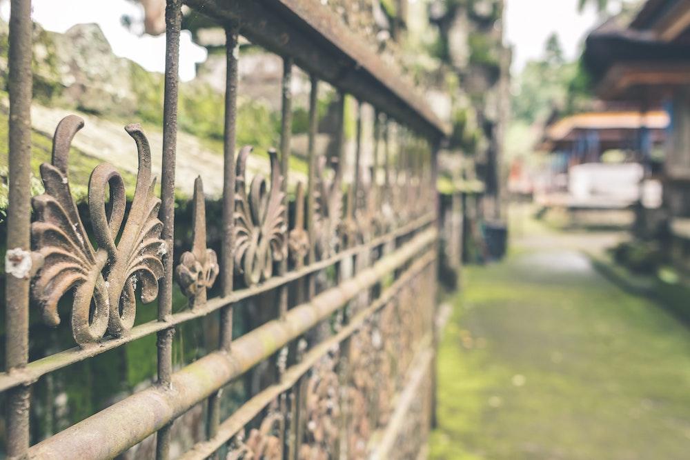 Rusty iron gates