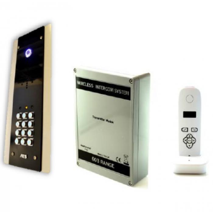 AES 603-FBK flush mount digital 1.88GHz wireless intercom with keypad