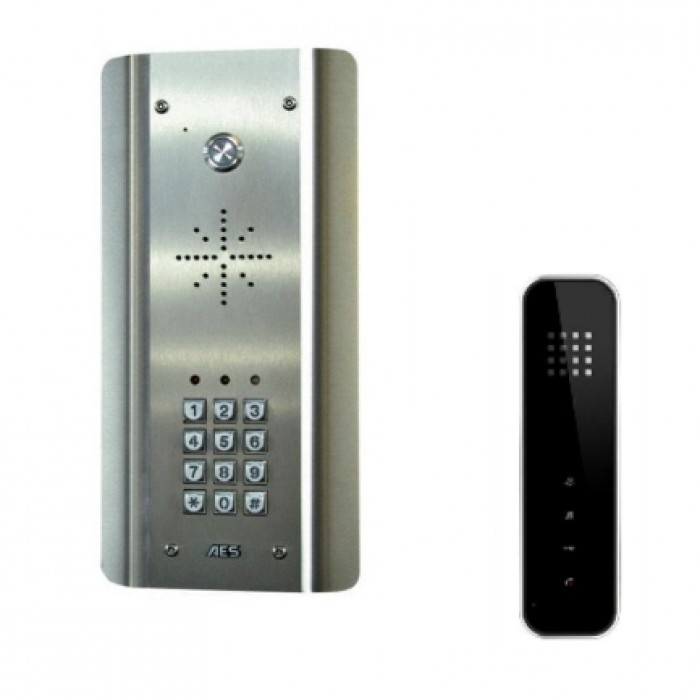 AES Slim HF-ASK wired stainless steel audio intercom kit with keypad and wireless handset