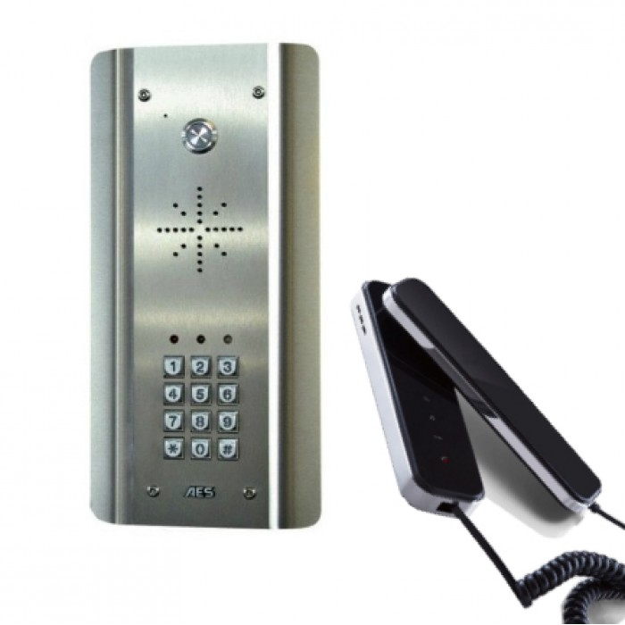 AES Slim CL-ASK wired stainless steel audio intercom kit with keypad and wired handset