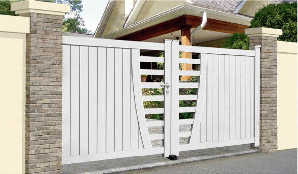 Contemporary aluminium gates for Modern gate designs wood and steel