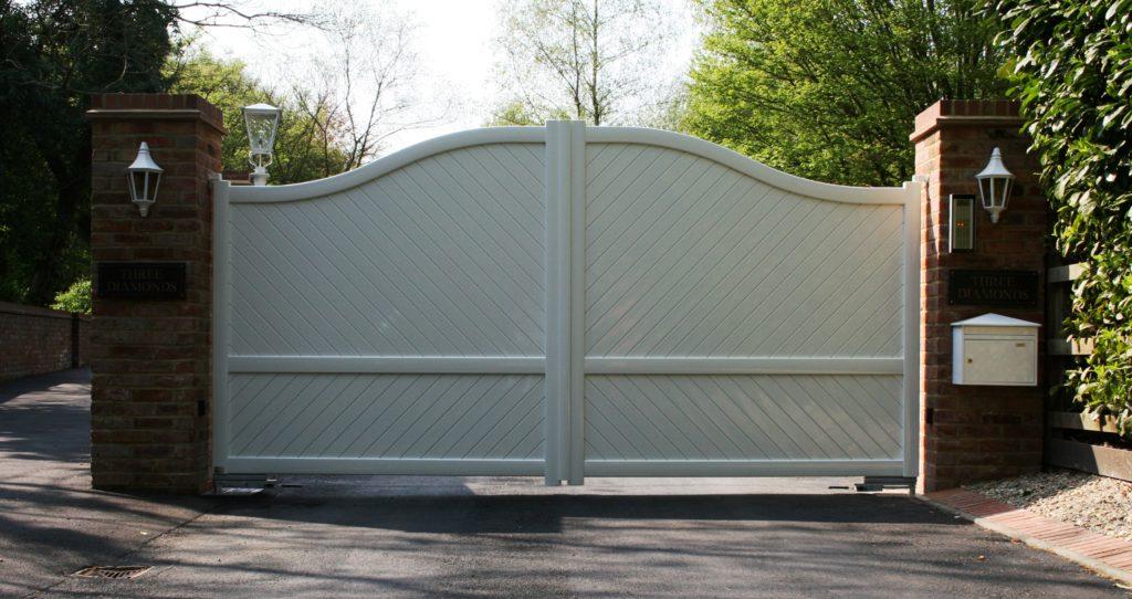 White aluminium gates